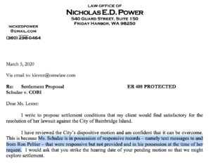 Schulze v City of Bainbridge Island PRA Lawsuit Settlement Letter