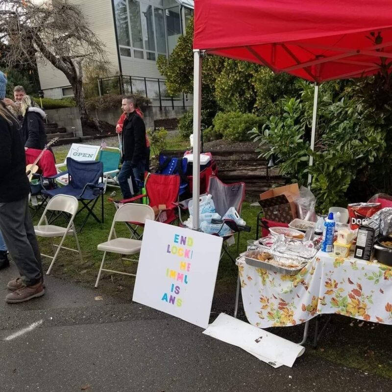 Anti Inslee Protest Food Setup Thanksgiving