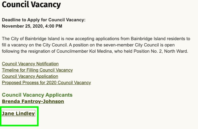 jane lindley city of bainrbidge island city council position wake up bainbridge