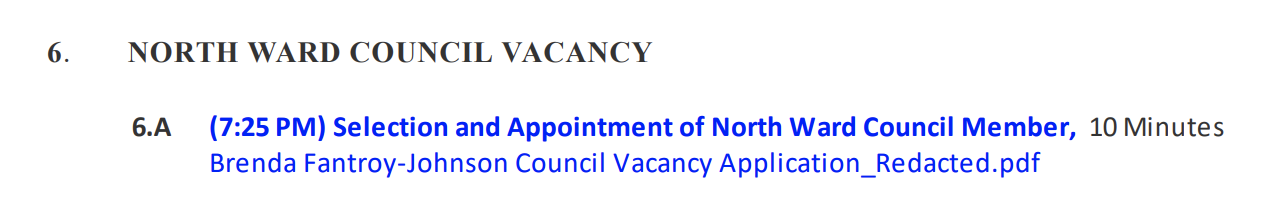 North Ward Council Vacancy